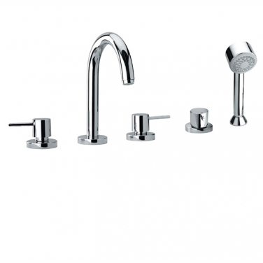 5 piece deck mount tub filler with hand shower