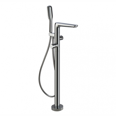 Thermostatic floor mount tub filler with hand shower