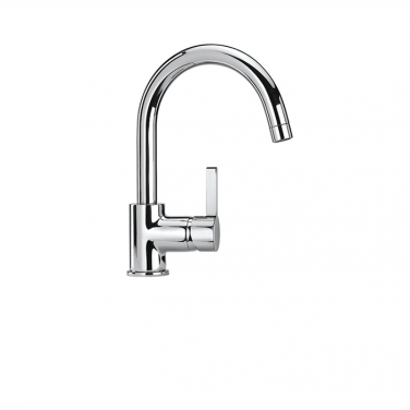 Kitchen/bar faucet with pivoting spout, 1 spray