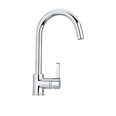 Kitchen faucet with pivoting spout, 1 spray