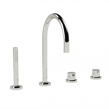 Thermostatic 4 piece deck mount tub with hand shower