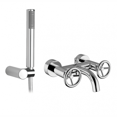 Wall mount tub filler with hand shower