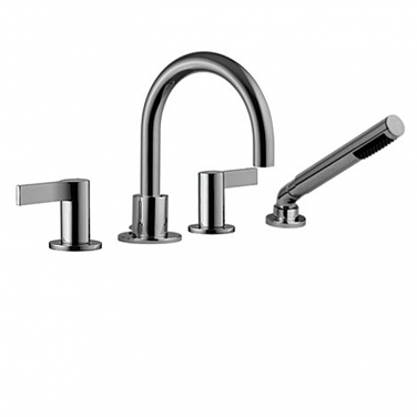 4 piece deck mount tub filler with hand shower