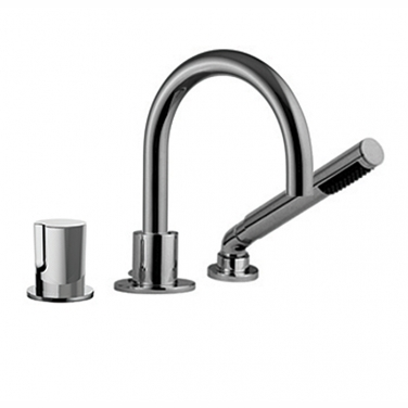 3 piece deck mount tub filler faucet with hand shower